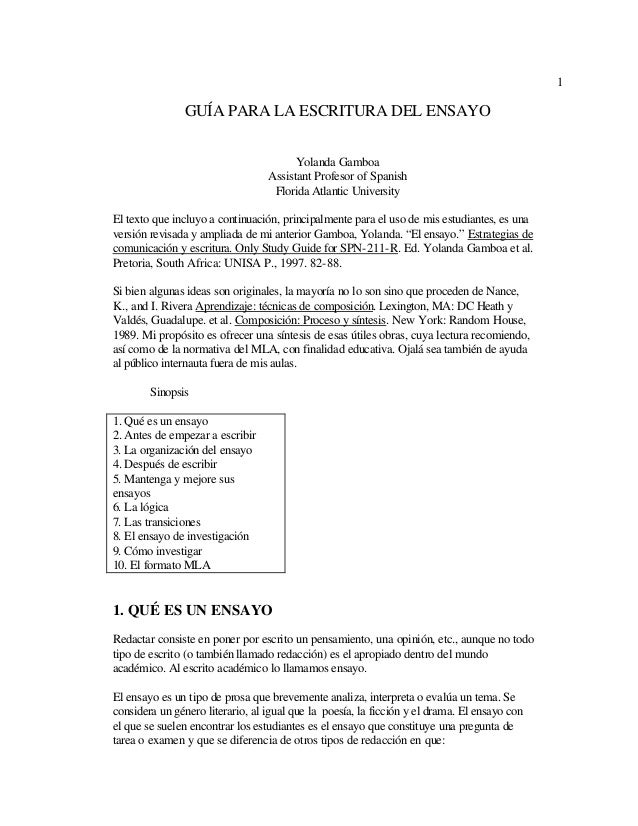 1 GUÍA PARA LA ESCRITURA DEL ENSAYO Yolanda Gamboa Assistant Profesor of Spanish Florida Atlantic University El texto que ...