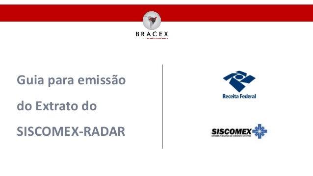 Guia para emissão do Extrato do SISCOMEX-RADAR