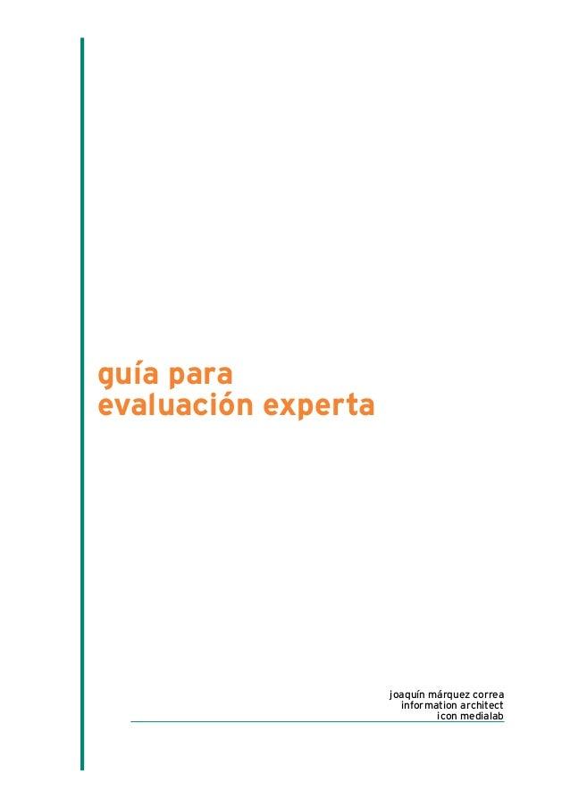 guía para evaluación experta joaquín márquez correa information architect icon medialab
