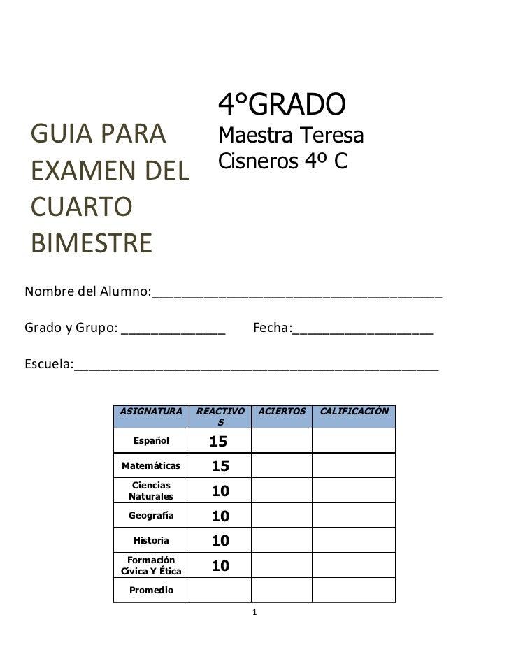 4°GRADOGUIA PARA                        Maestra Teresa                                 Cisneros 4º CEXAMEN DELCUARTOBIMEST...