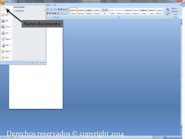 Nuevo documento  Derechos reservados © copyright 2014
