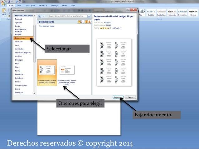 Seleccionar  Opciones para elegir  Derechos reservados © copyright 2014  Bajar documento
