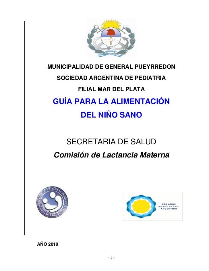MUNICIPALIDAD DE GENERAL PUEYRREDON       SOCIEDAD ARGENTINA DE PEDIATRIA             FILIAL MAR DEL PLATA     GUÍA PARA L...