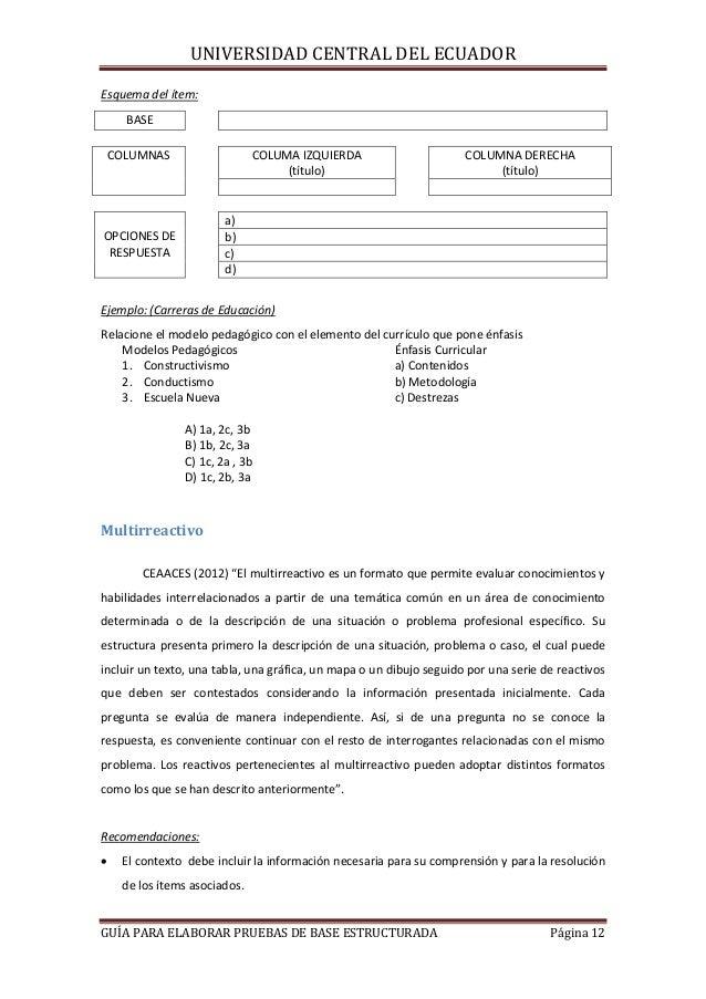 UNIVERSIDAD CENTRAL DEL ECUADOR Esquema del ítem: BASE COLUMNAS  COLUMA IZQUIERDA (título)  COLUMNA DERECHA (título)  a) b...