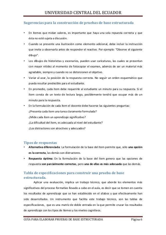 UNIVERSIDAD CENTRAL DEL ECUADOR Sugerencias para la construcción de pruebas de base estructurada •  En ítemes que midan va...