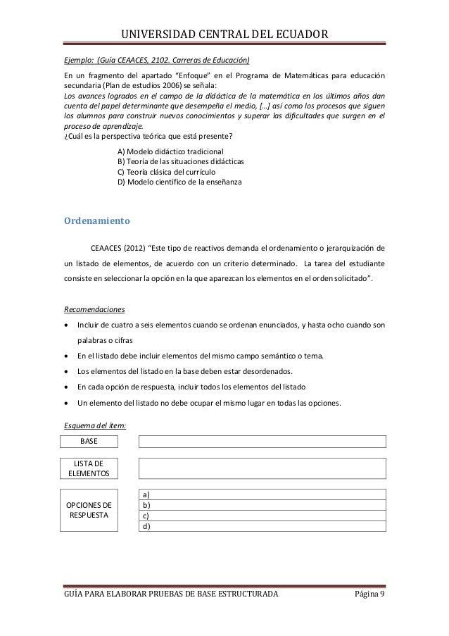 """UNIVERSIDAD CENTRAL DEL ECUADOR Ejemplo: (Guía CEAACES, 2102. Carreras de Educación) En un fragmento del apartado """"Enfoque..."""