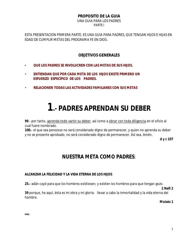 PROPOSITO DE LA GUIA                                    UNA GUIA PARA LOS PADRES                                          ...
