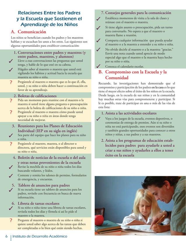 Instituto de Desarrollo Académico Relaciones Entre los Padres y la Escuela que Sostienen el Aprendizaje de los Niños A. C...