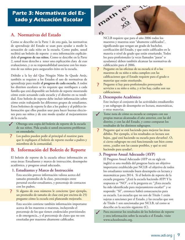 www.adi.org Parte 3: Normativas del Es- tado y Actuación Escolar A. Normativas del Estado Como se describe en la Parte 1 ...
