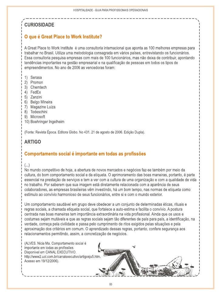 Guia para profissionais operacionais, Programa Bem Receber, Guias de profissões, Sebrae e Instituto de Hospitalidade 2007