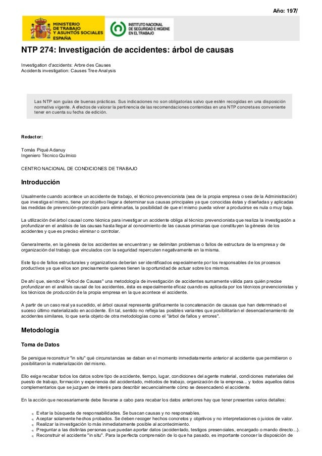 NTP 274: Investigación de accidentes: árbol de causas Investigation d'accidents: Arbre des Causes Accidents investigation:...