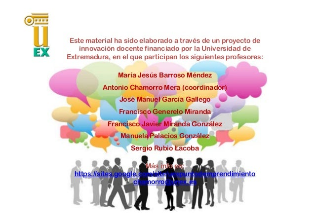 Este material ha sido elaborado a través de un proyecto de innovación docente financiado por la Universidad de Extremadura...