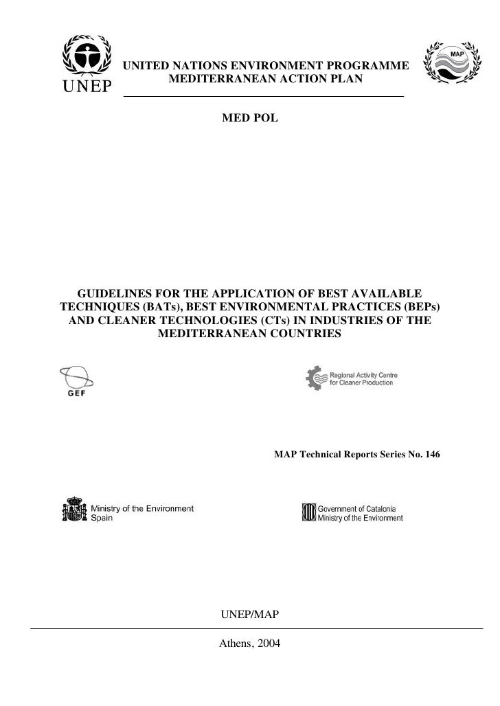 UNITED NATIONS ENVIRONMENT PROGRAMME               MEDITERRANEAN ACTION PLAN                          MED POL       GUIDEL...