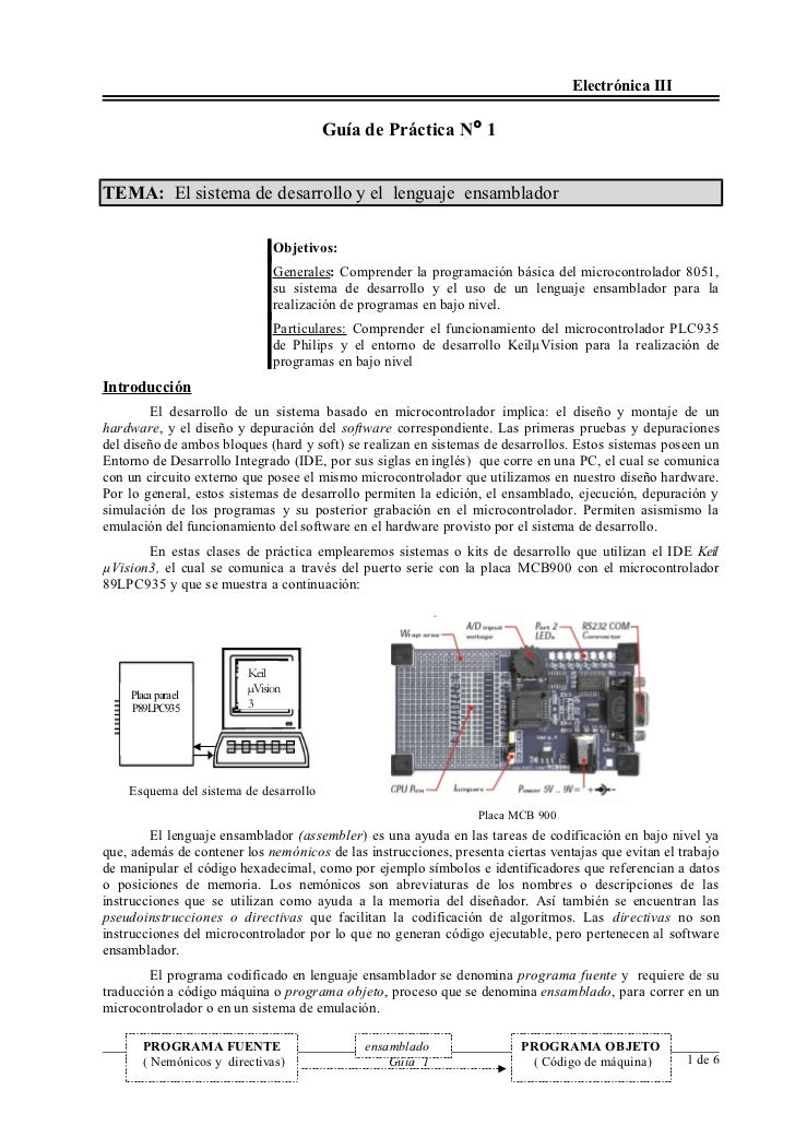 Electrónica III                                        Guía de Práctica N° 1TEMA: El sistema de desarrollo y el lenguaje e...