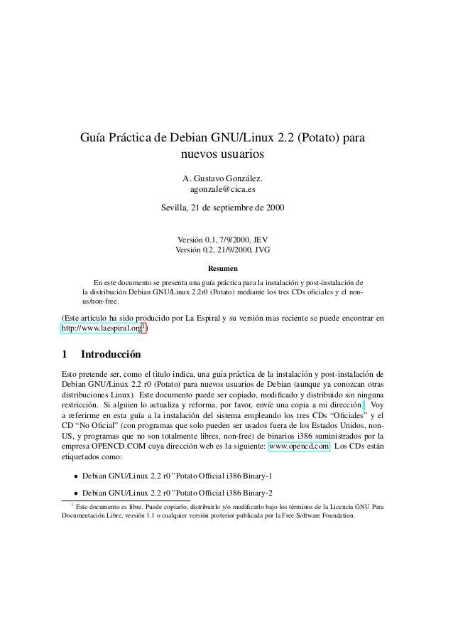 Gu´a Pr´ ctica de Debian GNU/Linux 2.2 (Potato) para        ı    a                         nuevos usuarios                ...