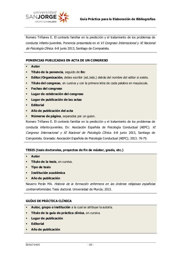Guía Práctica para la Elaboración de Bibliografías DI-017-1415 - 10 - Romero Triñanes E. El contexto familiar en la predic...