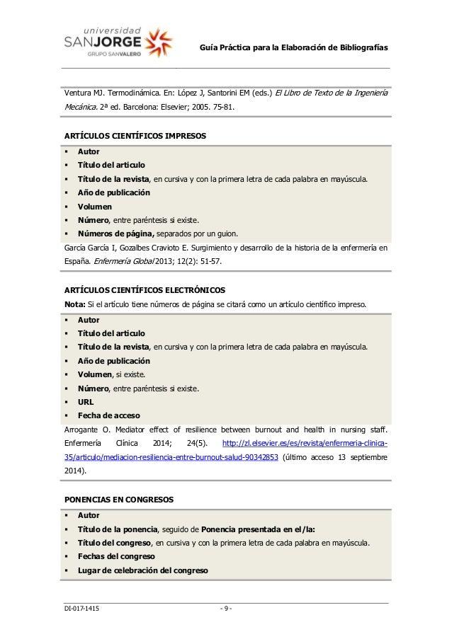 Guía Práctica para la Elaboración de Bibliografías DI-017-1415 - 9 - Ventura MJ. Termodinámica. En: López J, Santorini EM ...