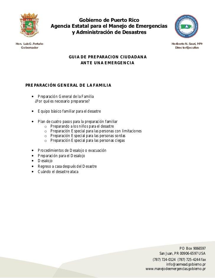 Gobierno de Puerto Rico                        Agencia Estatal para el Manejo de Emergencias                              ...