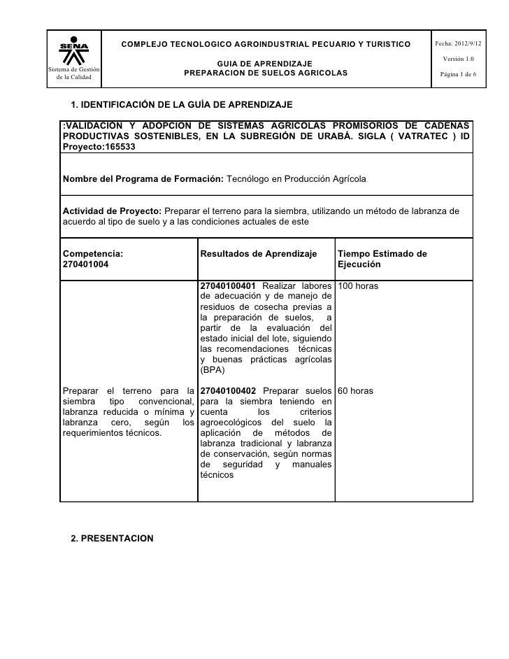 COMPLEJO TECNOLOGICO AGROINDUSTRIAL PECUARIO Y TURISTICO                 Fecha: 2012/9/12                                 ...