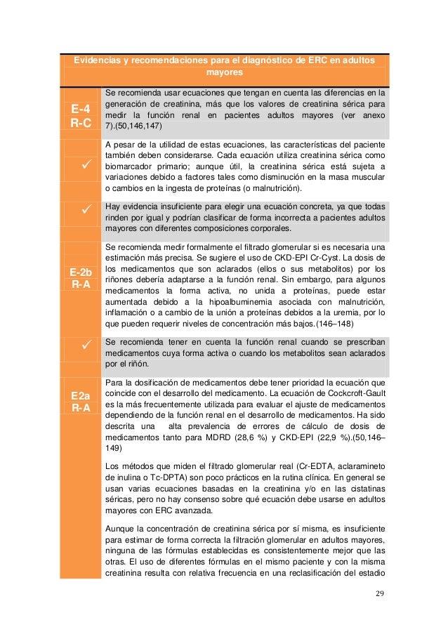 29 Evidencias y recomendaciones para el diagnóstico de ERC en adultos mayores E-4 R-C Se recomienda usar ecuaciones que te...