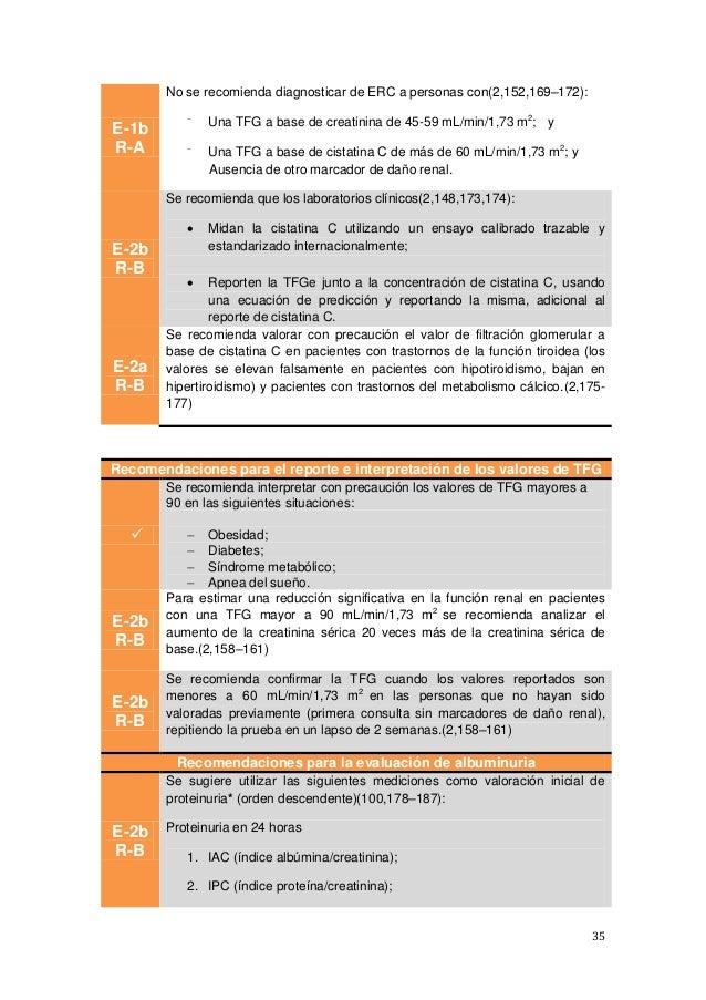 35 E-1b R-A No se recomienda diagnosticar de ERC a personas con(2,152,169–172):  Una TFG a base de creatinina de 45-59 mL...