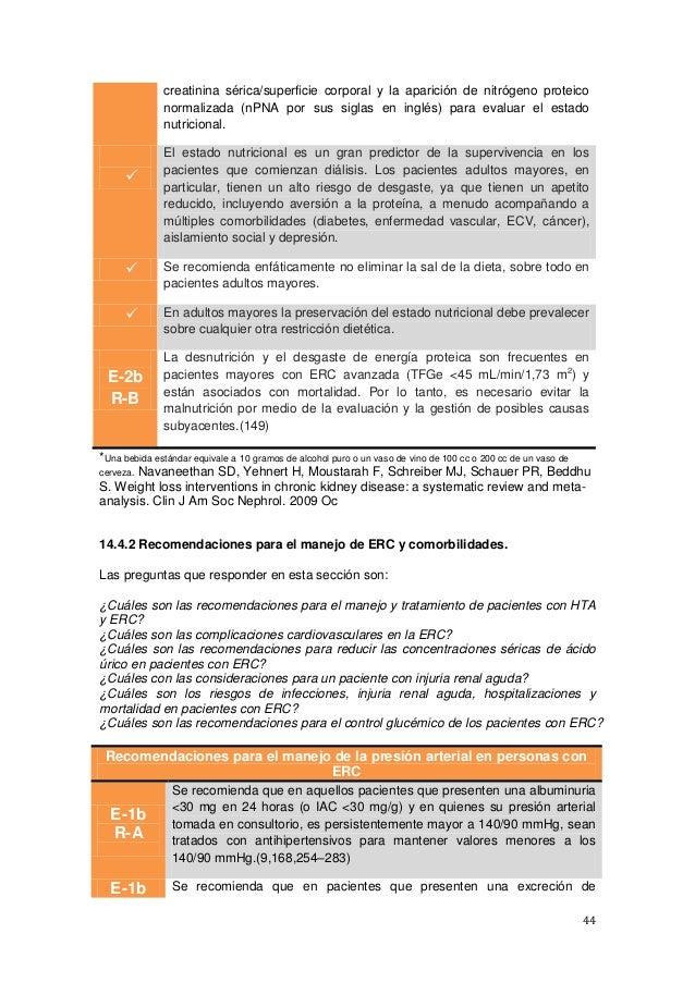 44 creatinina sérica/superficie corporal y la aparición de nitrógeno proteico normalizada (nPNA por sus siglas en inglés) ...