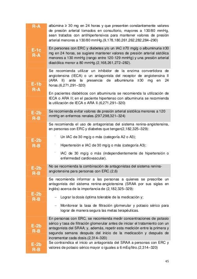 45 R-A albúmina ≥ 30 mg en 24 horas y que presenten constantemente valores de presión arterial tomados en consultorio, may...