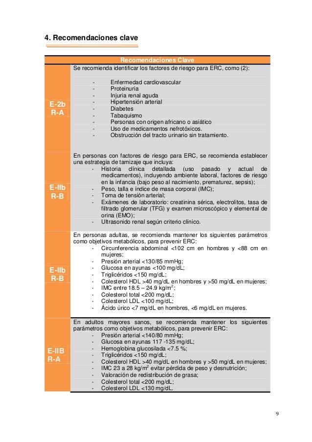 9 4. Recomendaciones clave Recomendaciones Clave E-2b R-A Se recomienda identificar los factores de riesgo para ERC, como ...