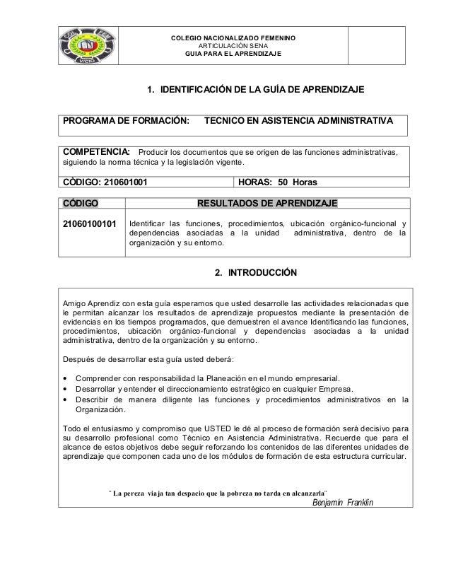 COLEGIO NACIONALIZADO FEMENINO ARTICULACIÓN SENA GUIA PARA EL APRENDIZAJE  1. IDENTIFICACIÓN DE LA GUÍA DE APRENDIZAJE PRO...