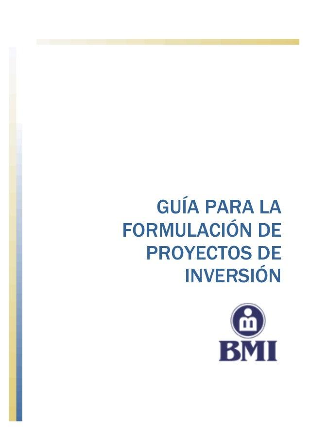 GUÍA PARA LA FORMULACIÓN DE PROYECTOS DE INVERSIÓN