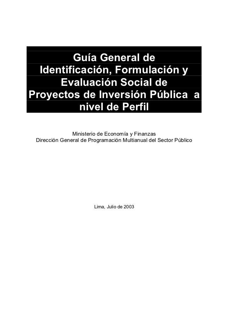 Guía General de  Identificación, Formulación y      Evaluación Social deProyectos de Inversión Pública a           nivel d...