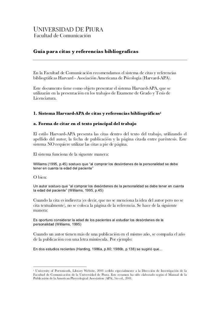 Guía para citas y referencias bibliograficasEn la Facultad de Comunicación recomendamos el sistema de citas y referenciasb...