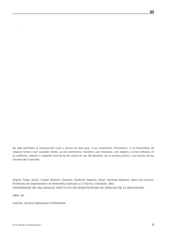 Guia rapida de matlab (comandos basicos, graficacion y programacion) Slide 3
