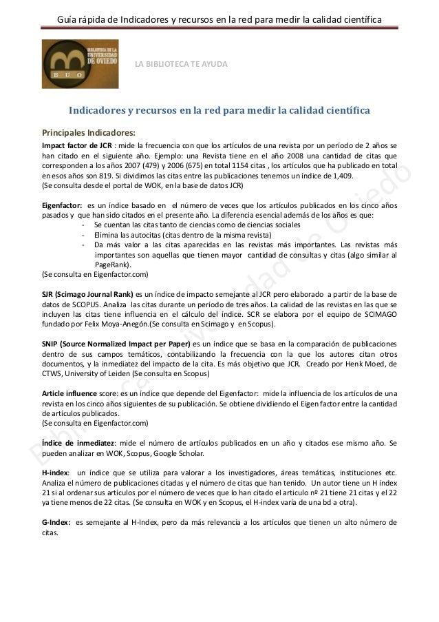 GuíarápidadeIndicadoresyrecursosenlaredparamedirlacalidadcientífica                               LABIBLIOT...