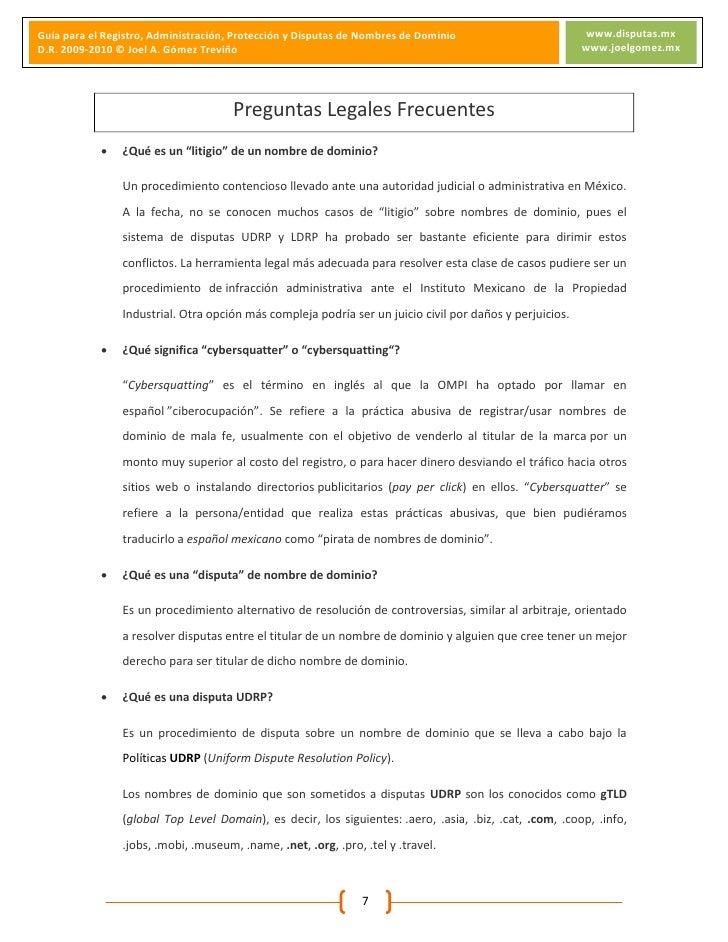 Guia Registro, Administración, Protección y Disputas de