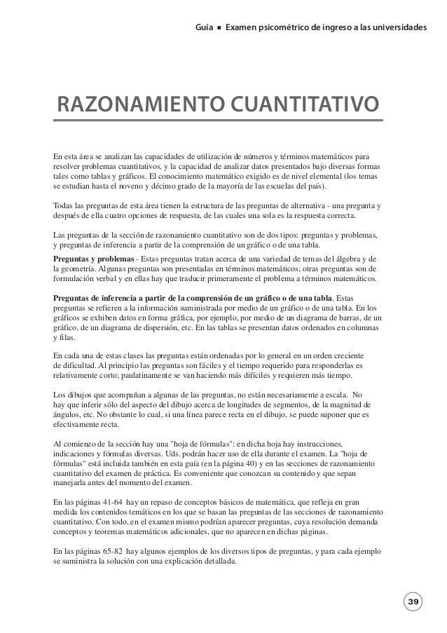 Guía     Examen psicométrico de ingreso a las universidades RAZONAMIENTO CUANTITATIVOEn esta área se analizan las capacida...