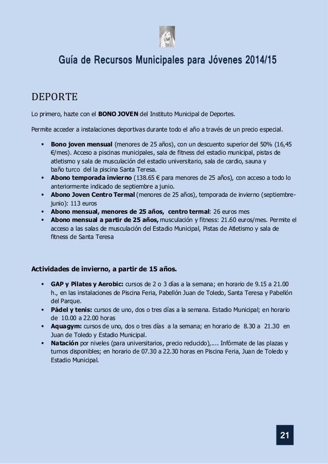 Guia recursos municipales para jovenes 2014 15 for Piscina santa teresa albacete
