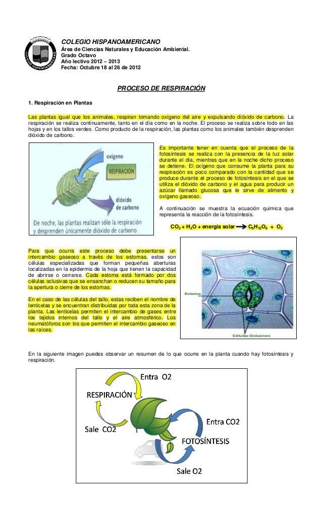 COLEGIO HISPANOAMERICANO              Área de Ciencias Naturales y Educación Ambiental.              Grado Octavo         ...