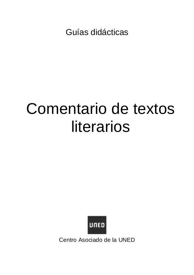 Guías didácticas Comentario de textos literarios Centro Asociado de la UNED