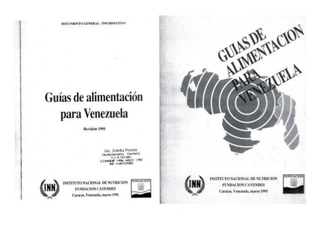 l DOCUMENTO GENERAL - INFORMATIVO ri  Guías de alimentación para Venezuela  Revisión 1991  Lic.  Zaida Prado Mymoonu' ' 't...