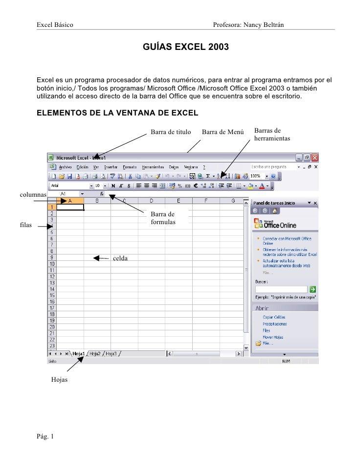 Excel Básico                                            Profesora: Nancy Beltrán                                        GU...