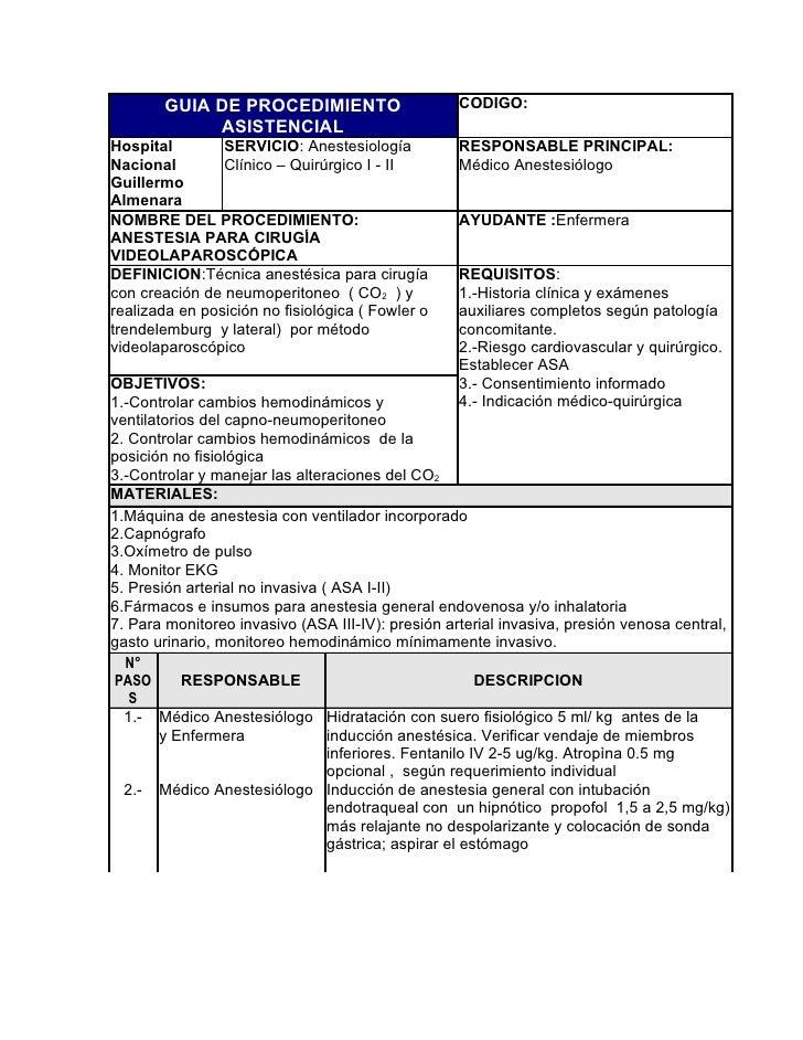 GUIA DE PROCEDIMIENTO                       CODIGO:             ASISTENCIAL Hospital        SERVICIO: Anestesiología      ...