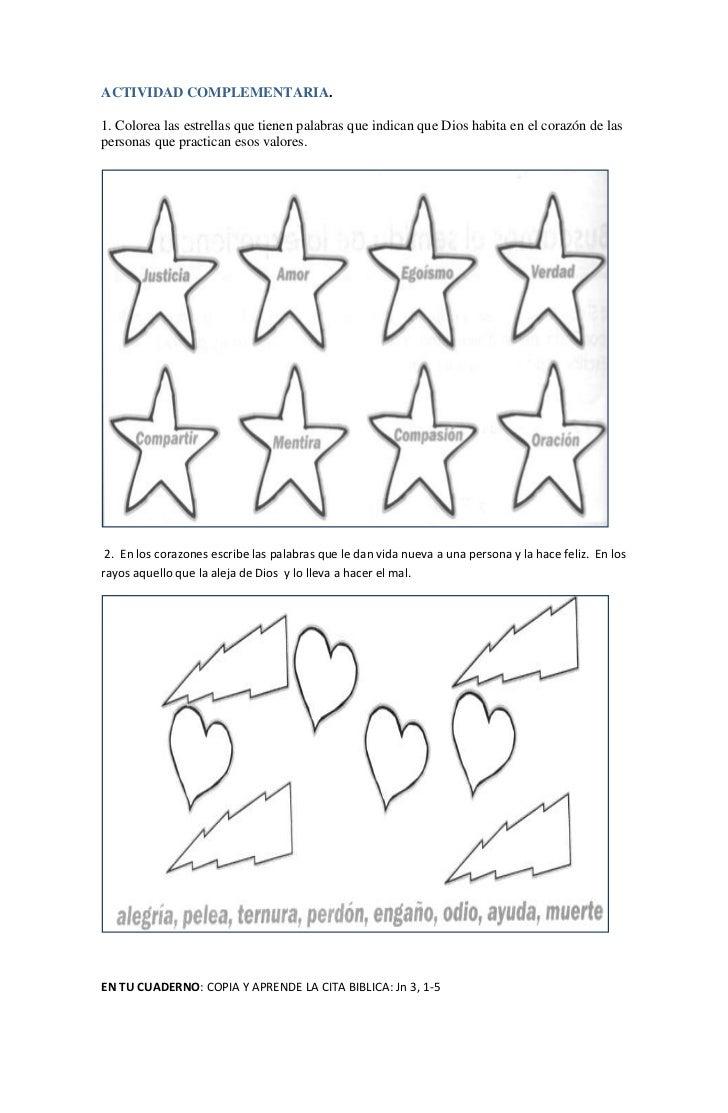 ACTIVIDAD COMPLEMENTARIA.1. Colorea las estrellas que tienen palabras que indican que Dios habita en el corazón de laspers...
