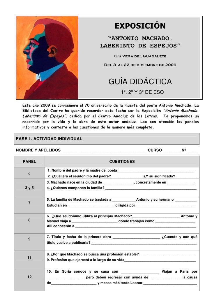 """EXPOSICIÓN                                              """"ANTONIO MACHADO.                                            LABER..."""