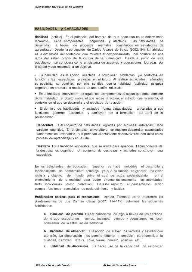 UUNNIIVVEERRSSIIDDAADD NNAACCIIOONNAALL DDEE CCAAJJAAMMAARRCCAA Métodos y Técnicas de Estudio Dr Alex M. Hernández Torres ...