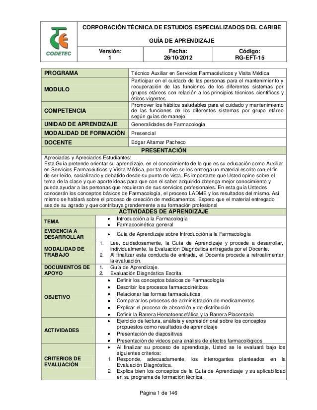 CORPORACIÓN TÉCNICA DE ESTUDIOS ESPECIALIZADOS DEL CARIBE GUÍA DE APRENDIZAJE Versión: 1 Fecha: 26/10/2012 Código: RG-EFT-...