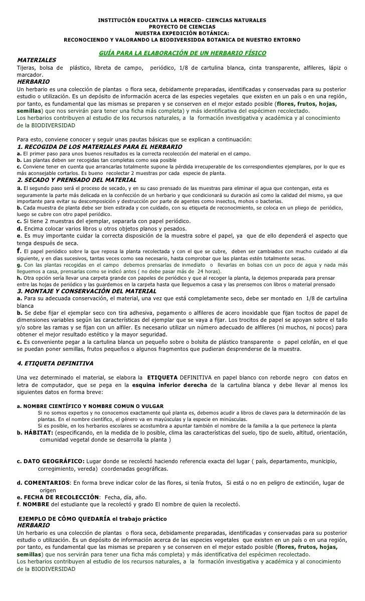 INSTITUCIÓN EDUCATIVA LA MERCED- CIENCIAS NATURALES                                            PROYECTO DE CIENCIAS       ...