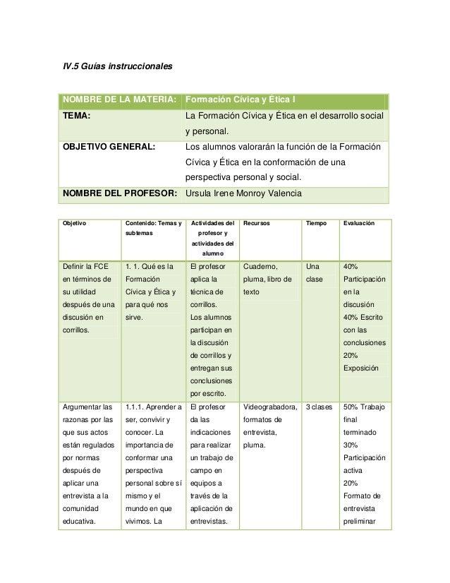 IV.5 Guías instruccionalesNOMBRE DE LA MATERIA:                  Formación Cívica y Ética ITEMA:                          ...