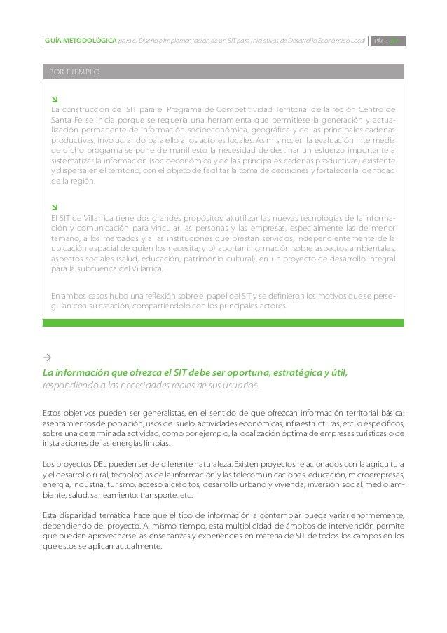 GUÍA METODOLÓGICA para el Diseño e Implementación de un SIT para Iniciativas de Desarrollo Económico Local   PÁG. 67 POR E...