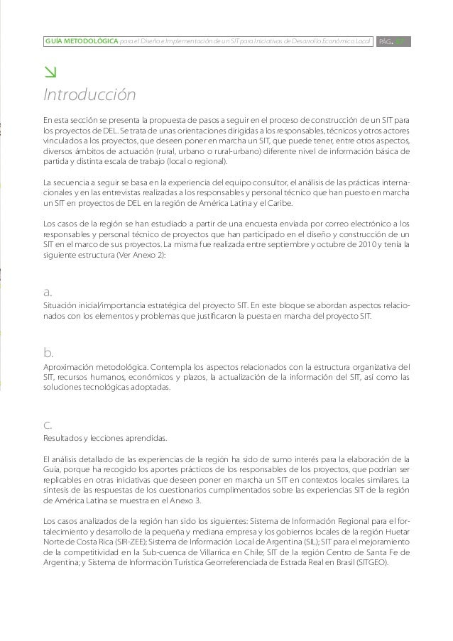 GUÍA METODOLÓGICA para el Diseño e Implementación de un SIT para Iniciativas de Desarrollo Económico Local   PÁG. 57Intro...